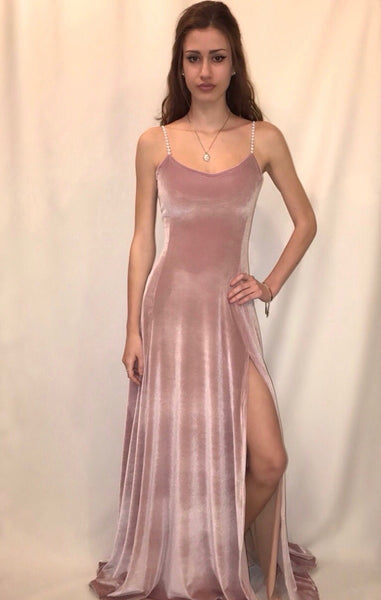 Jeweled Strap Nude Velvet Dress with Slit