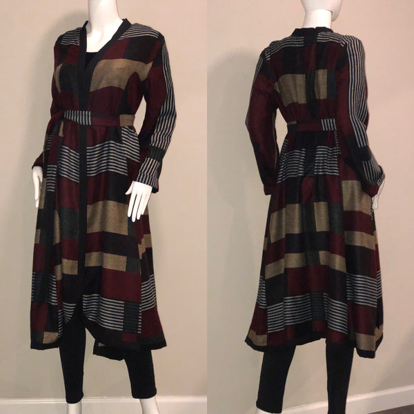 Handmade Plaid Fleece Belted Wrap Coat