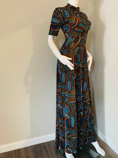 Stretch Print High Neck Maxi Dress