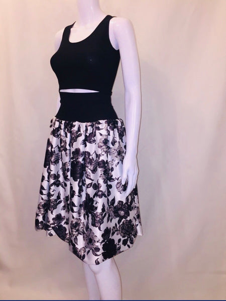 High Waisted Silk Floral Print Skirt