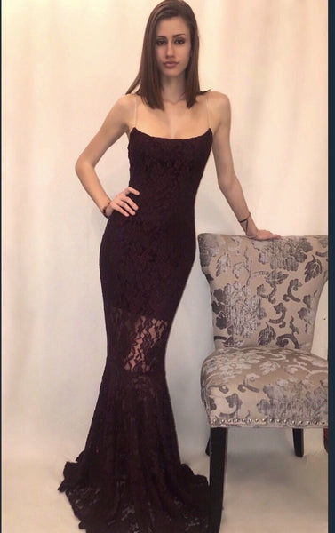 Lace Burgundy Mermaid Dress