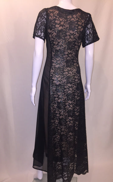 Black Lace and Chiffon Long Dress