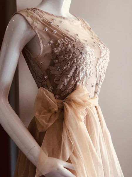 Nude Embroidered Flared Dress