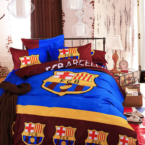 2016 Famous European Soccer Team Barcelona Bedding Set 3/4pcs Bed Linen  Cotton Duvet Cover