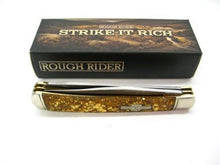 Rough Rider Gold Flake Celluloid Handle Trapper Pocket Knife RR1424 2 Blades