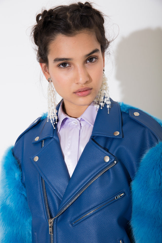 Sienna Blue PU Leather Coat