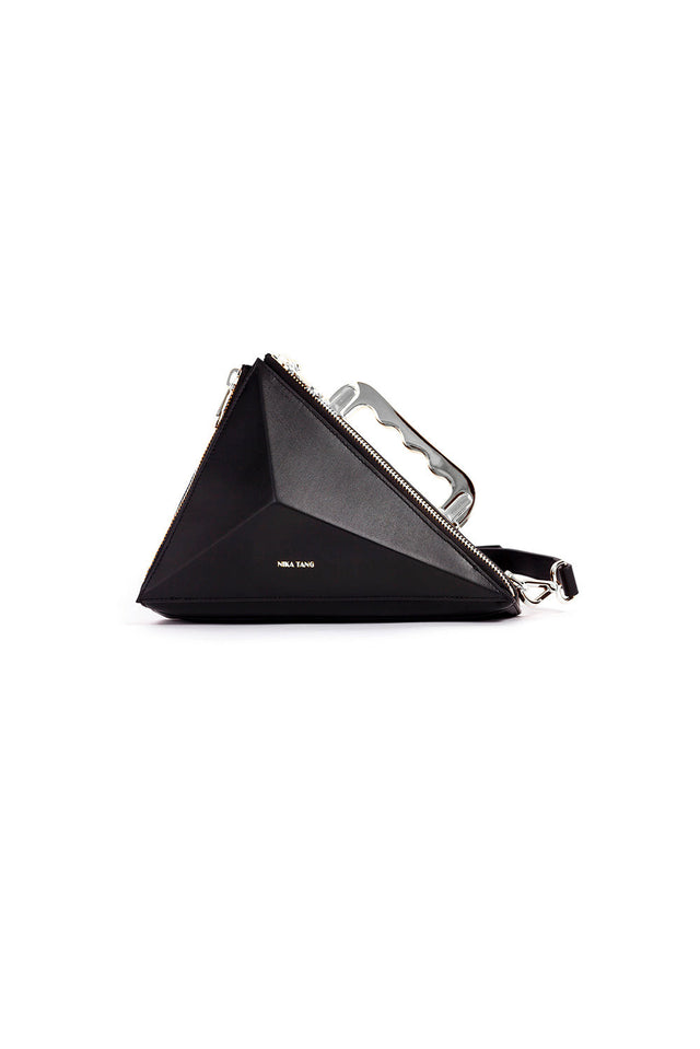 Texahedron Silver Clutch Handbag