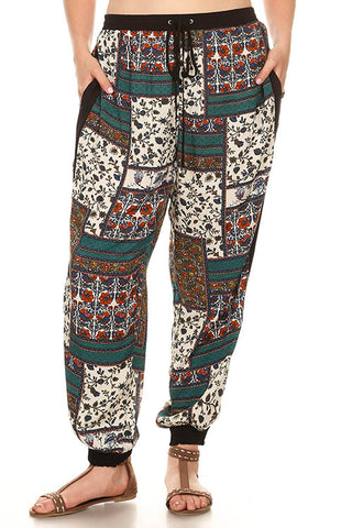 Teal Patchwork Pants