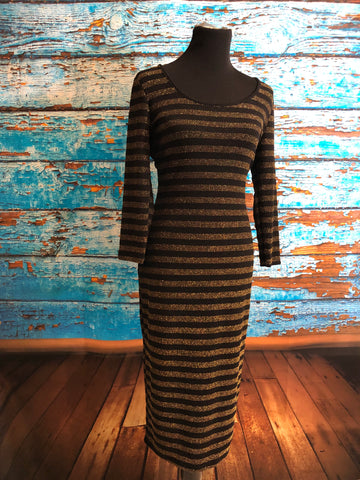Gold and black glittery stripe long sleeve body con dress