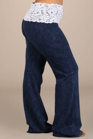 Mineral Wash Lace Waist Bootcut Pants