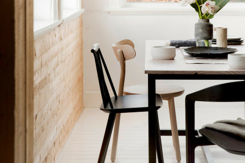 Japandi dining table and chairs