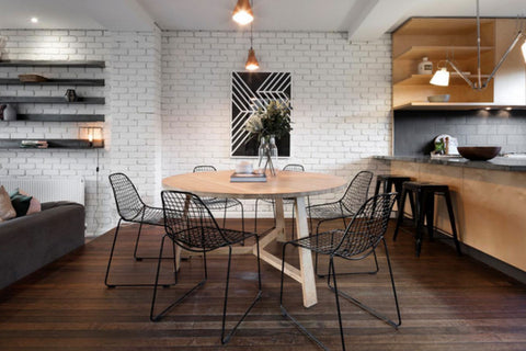 TRES dining table with wire chairs