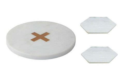 Marble Trivet by Academy and Marble Coasters by Amalfi