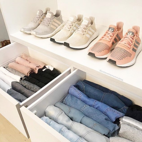 Marie Kondo KonMari - folded clothes in dresser drawer
