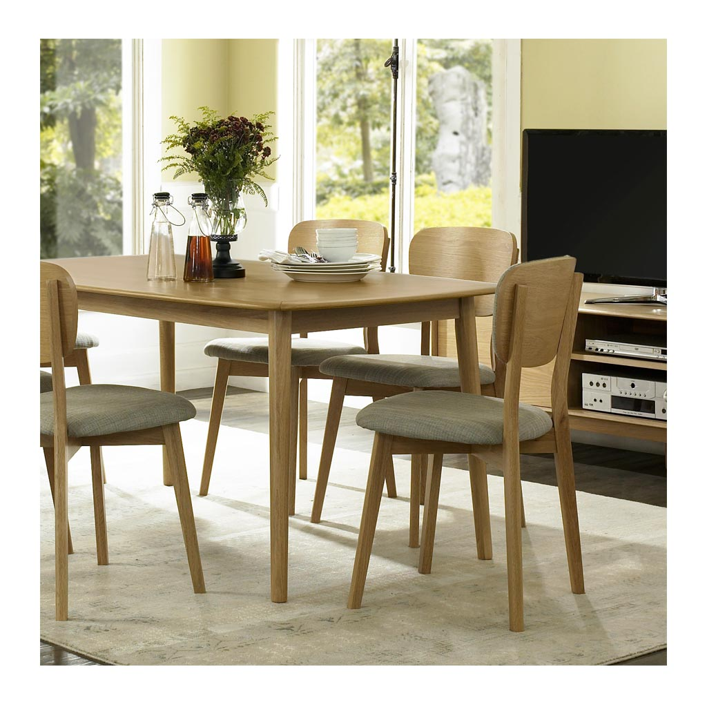 Alva Scandinavian Wooden Oak and Grey Linen Dining Chair RETROJAN  Set of 2 Linden Contemporary Timber Back Dining Chair