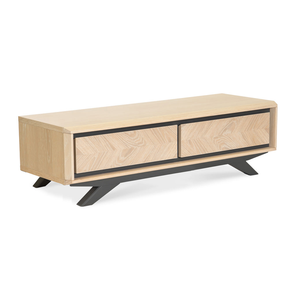 Archer Scandinavian Wooden Oak Coffee Table With Drawers The