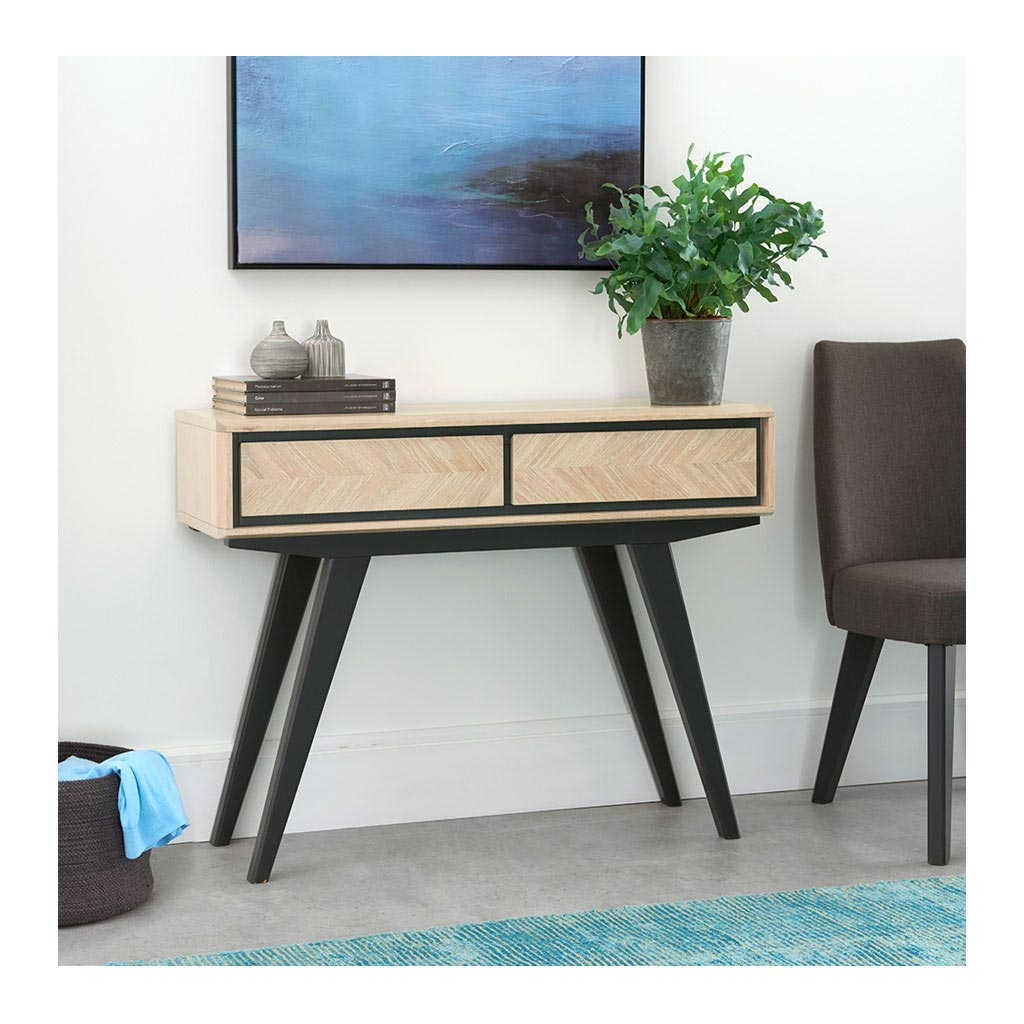 Archer Modern Scandinavian Wooden Oak Console Table with Drawers INTERIOR SECRETS  DT2016-VN Helga Narrow Wood Console Table
