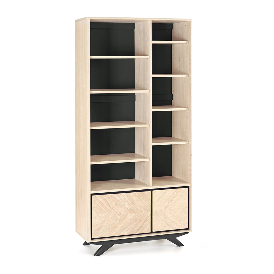 Archer Modern Scandinavian Wooden Oak Bookcase, RETROJAN RJLIVING Maddox Contemporary Display Case