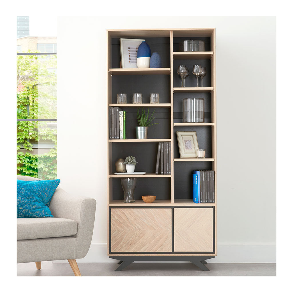 Archer Modern Scandinavian Wooden Oak Bookcase