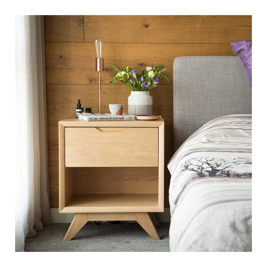 Erika Scandinavian Wooden Oak Bedside Table with Drawer INTERIOR SECRETS  CF860-VN Nora Scandinavian Lamp Side Table - Natural , RETROJAN  Harper Open Bedside Table - Oak
