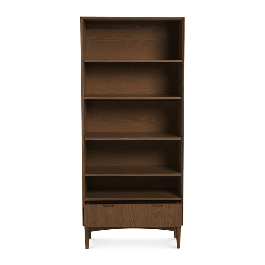 Caleb Retro Scandinavian Walnut and Beech Wood Bookcase / Bookshelf LIFE INTERIORS Stockholm Wide Bookshelf (Walnut)