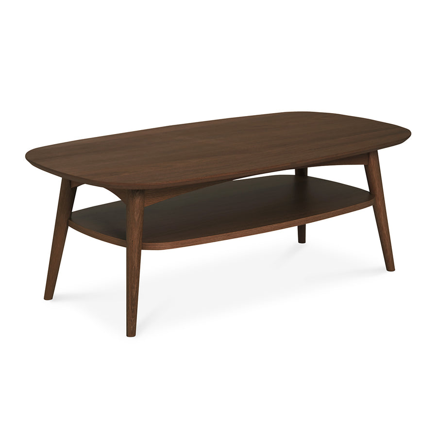 Caleb Retro Scandinavian Walnut and Beech Wood Coffee Table with Shelf INTERIOR SECRETS  CF690WAL-VN Johansen Scandinavian Coffee Table - Walnut, LIFE INTERIORS Stockholm Coffee Table (Shelf, Walnut)