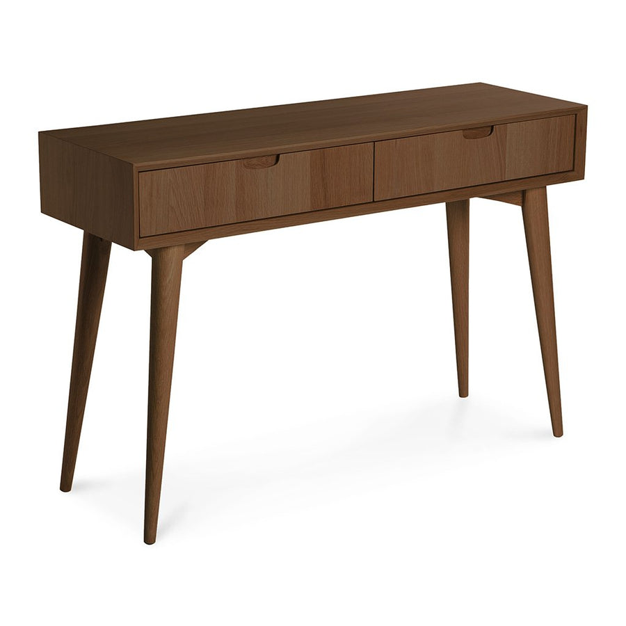 Caleb Retro Scandinavian Walnut and Beech Wood Console Table with Drawers INTERIOR SECRETS  DT776WAL-VN Johansen Wood Console Table with Drawers - Walnut, LIFE INTERIORS Stockholm Console Table (Drawer, Walnut)