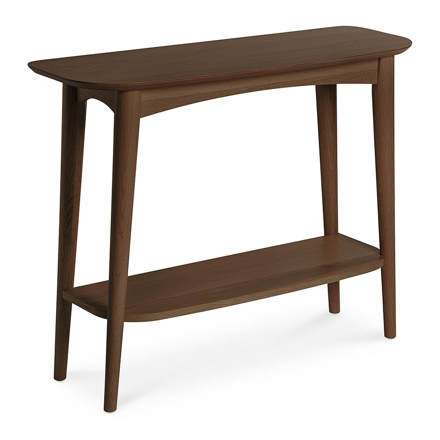 Caleb Retro Scandinavian Walnut and Beech Wood Console Table with Shelf LIFE INTERIORS Stockholm Console Table (Shelf, Walnut)