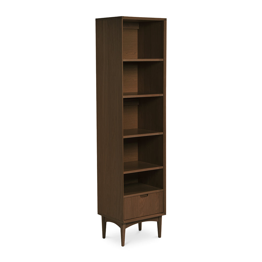 Caleb Retro Scandinavian Walnut and Beech Wood Narrow Bookcase / Bookshelf INTERIOR SECRETS  DT765-VN Johansen Narrow Bookcase - Walnut, LIFE INTERIORS Stockholm Narrow Bookshelf (Walnut)