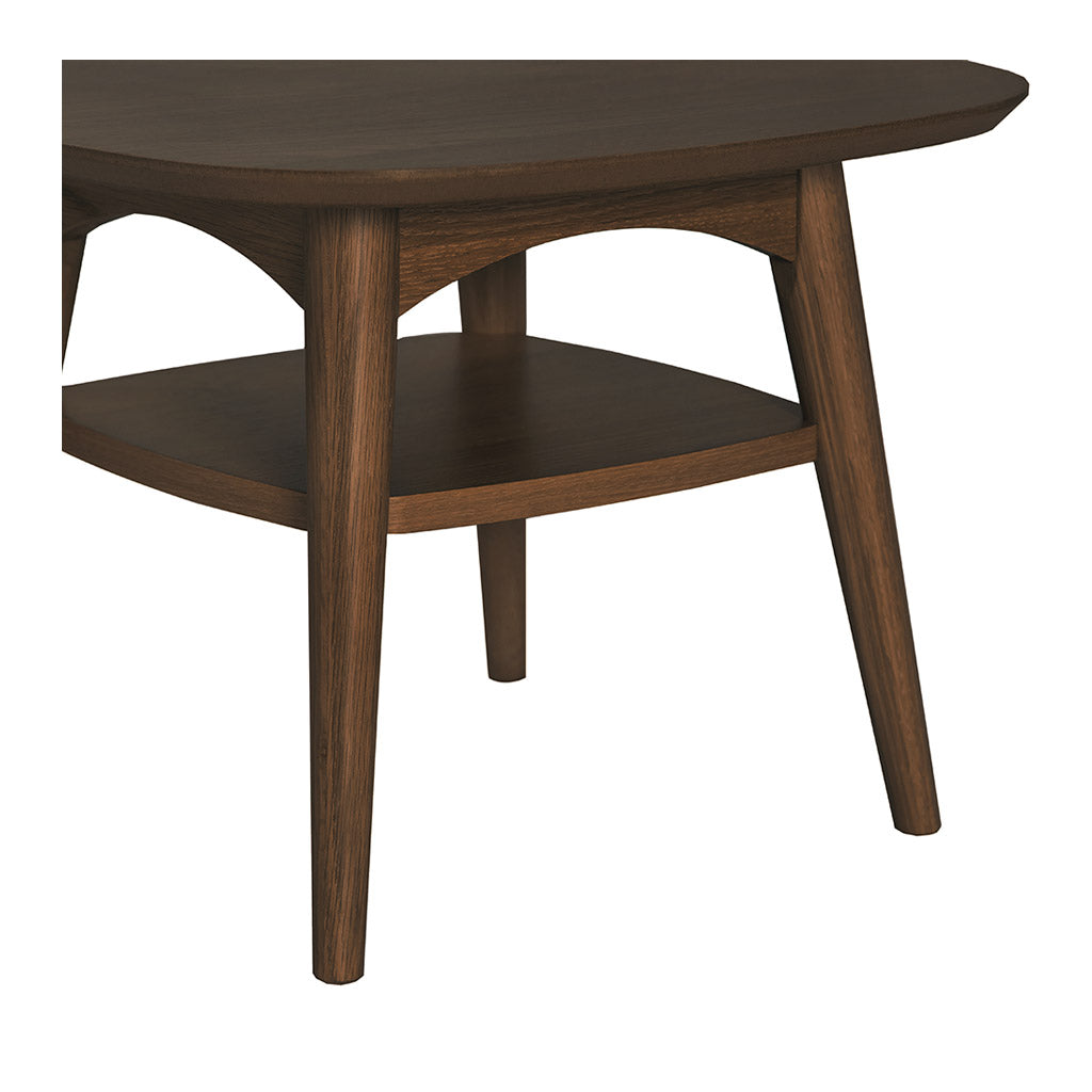 Caleb Retro Scandinavian Walnut and Beech Wood Side Table with Shelf LIFE INTERIORS Stockholm Lamp Table (Shelf, Walnut)