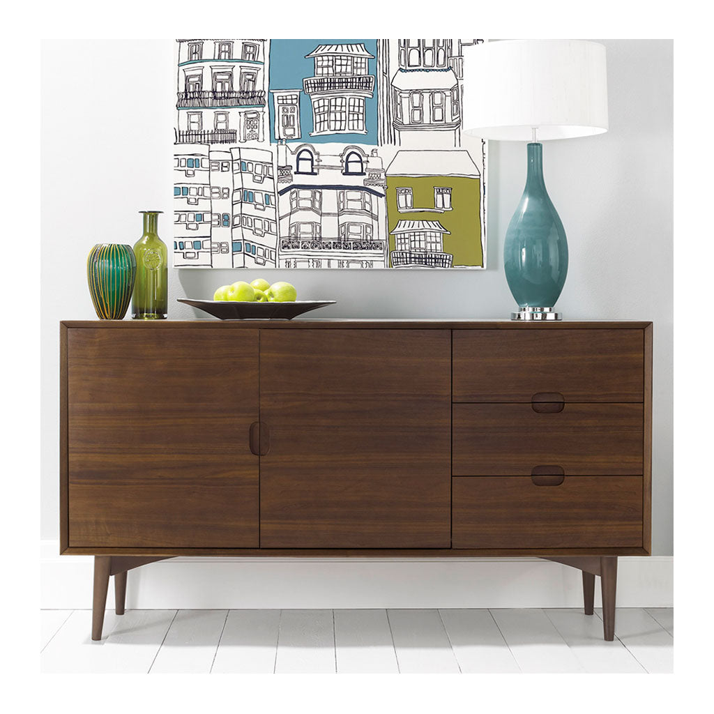 Caleb Retro Scandinavian Walnut and Beech Wood Sideboard INTERIOR SECRETS  DT770WAL-VN Johansen Scandinavian Buffet Cabinet - Walnut, RETROJAN Mia Sideboard - Walnut, LIFE INTERIORS Stockholm Sideboard (Walnut)