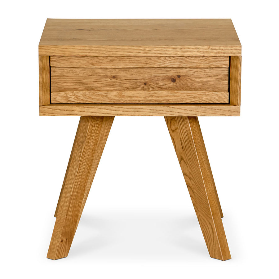 Carlsen Rustic Scandinavian Wooden Oak Bedside Table with Drawer