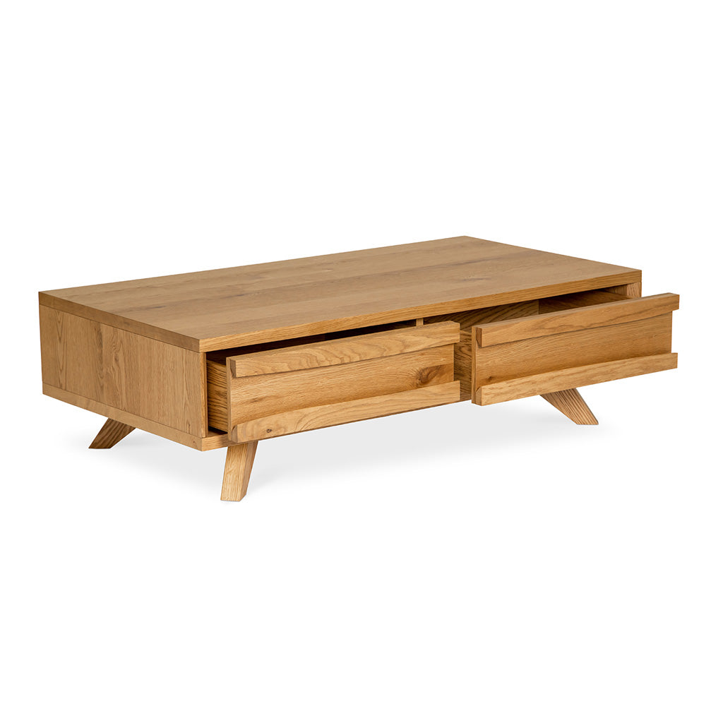 Carlsen Rustic Scandinavian Wooden Oak Coffee Table with Drawers