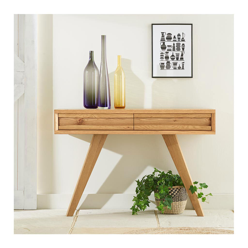 Carlsen Rustic Scandinavian Wooden Oak Console Table with Drawers