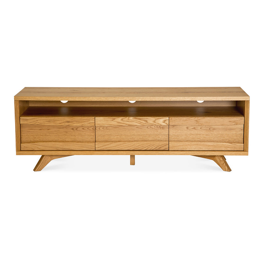 Carlsen Rustic Scandinavian Wooden Oak Wide Entertainment Unit