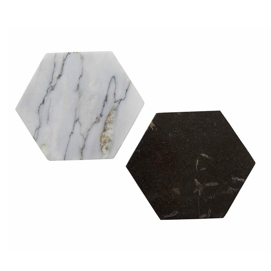 Coasters Amalfi Hexagon Marble Coaster   White HXCS 01 W
