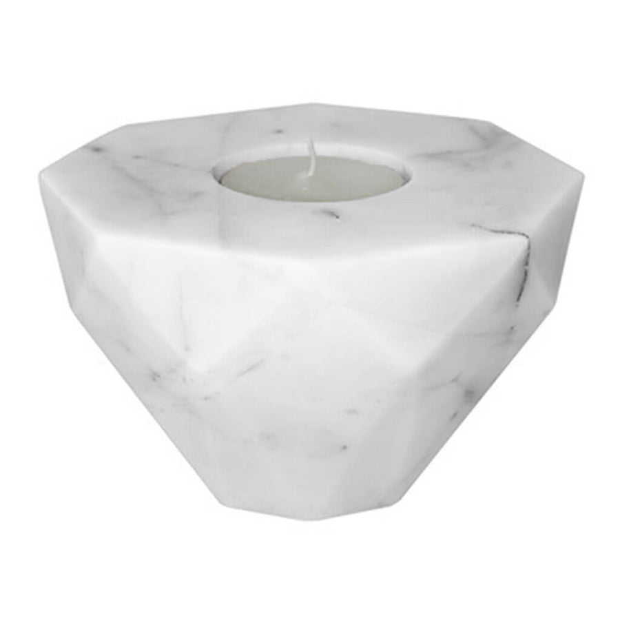 Decor Sounds Like Home Elementer flip marble candle holder, white DFH2175