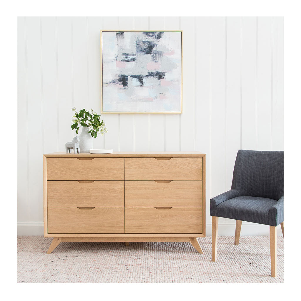 Erika Scandinavian Wooden Oak 6 Drawer Wide Chest of Drawers INTERIOR SECRETS  DT1057-VN Nora 6 Drawer Wide Chest - Natural