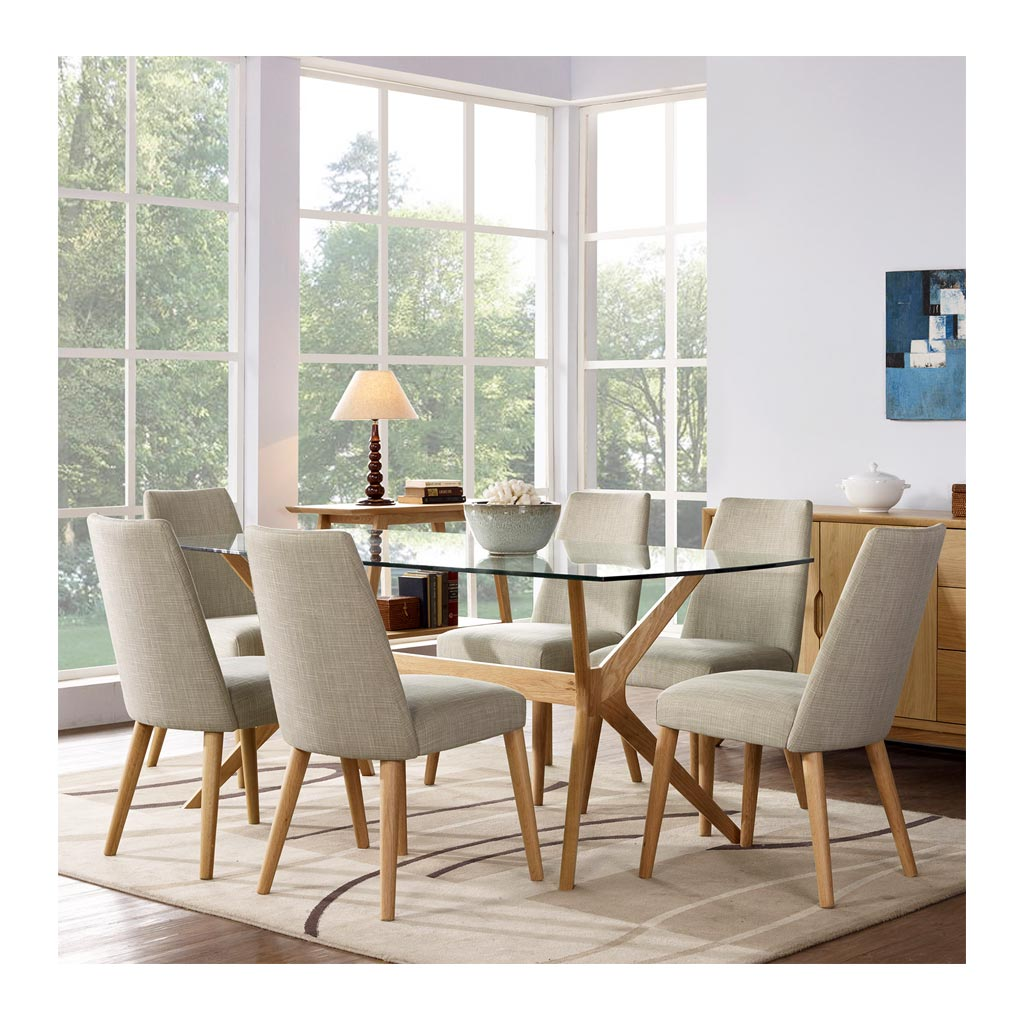 Erika Scandinavian Wooden Oak 6 Seater Dining Table with Glass Top BROSA TBLELZ19OAK Elizabeth Glass Top Dining Room Table, INTERIOR SECRETS  DT955-VN Nora 1.85m Glass Dining Table - Natural, RETROJAN Harper Glass Top Dining Table - Oak