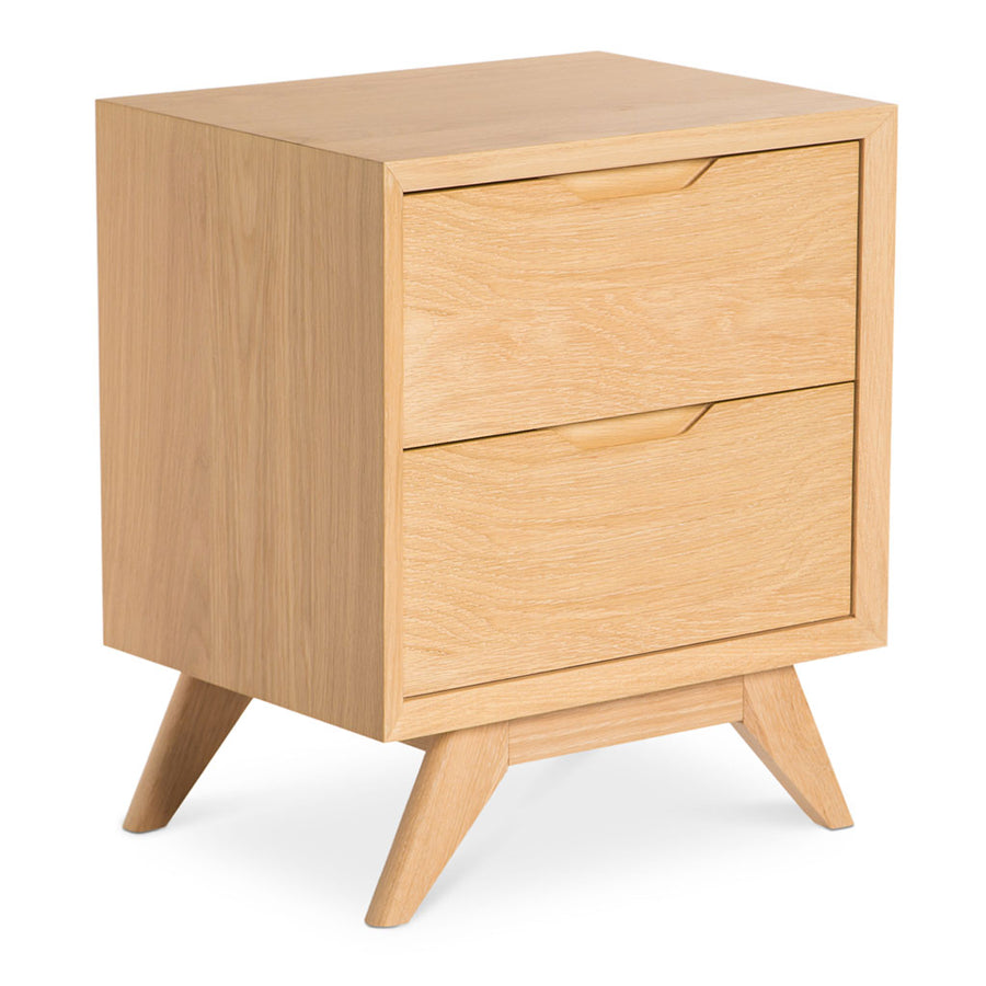 Erika Scandinavian Wooden Oak Bedside Table with 2 Drawers INTERIOR SECRETS  CF865-VN Nora Scandinavian 2 Drawer Wooden Bedside Table, MATT BLATT  Fleetwood Bedside Table