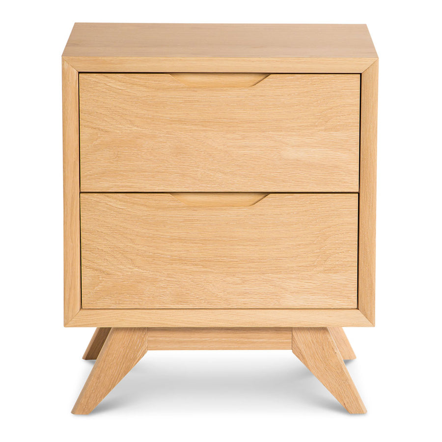 Erika Scandinavian Wooden Oak Bedside Table with 2 Drawers INTERIOR SECRETS CF865-VN Nora Scandinavian 2 Drawer Wooden Bedside Table RETROJAN Harper Bedside Table