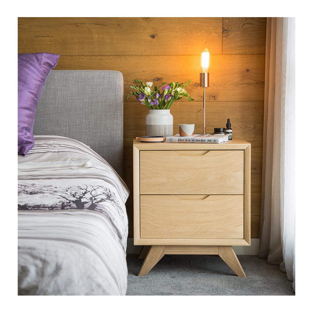 Erika Scandinavian Wooden Oak Bedside Table with 2 Drawers INTERIOR SECRETS  CF865-VN Nora Scandinavian 2 Drawer Wooden Bedside Table, RETROJAN Harper Bedside Table - Oak, MATT BLATT  Fleetwood Bedside Table