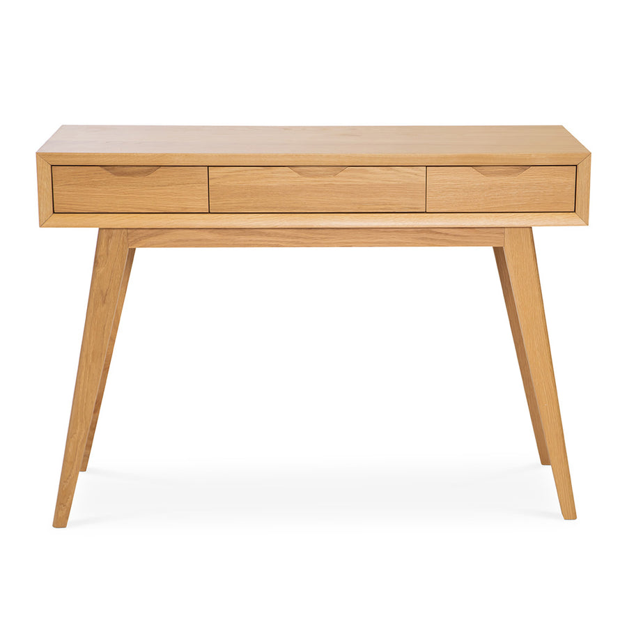 Erika Scandinavian Wooden Oak Console Table with Drawers BROSA TBLELZ25OAK Elizabeth Dressing Table, INTERIOR SECRETS  DT950-VN Nora Console Hall Table - Natural, RETROJAN Harper Dressing Table - Oak, TEMPLE AND WEBSTER TPWT2529 Natural Skov Console