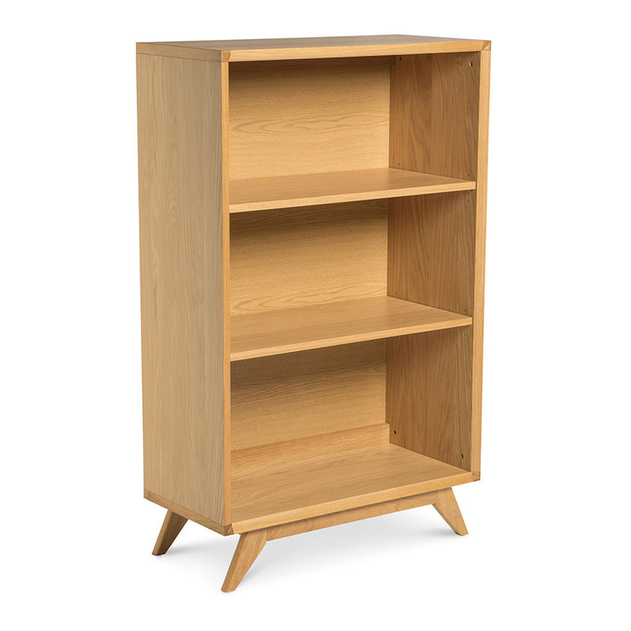 Erika Scandinavian Wooden Oak Low Bookcase / Bookshelf BROSA Elizabeth Low Bookcase INTERIOR SECRETS DT958-VN Nora Scandinavian Wide Bookshelf