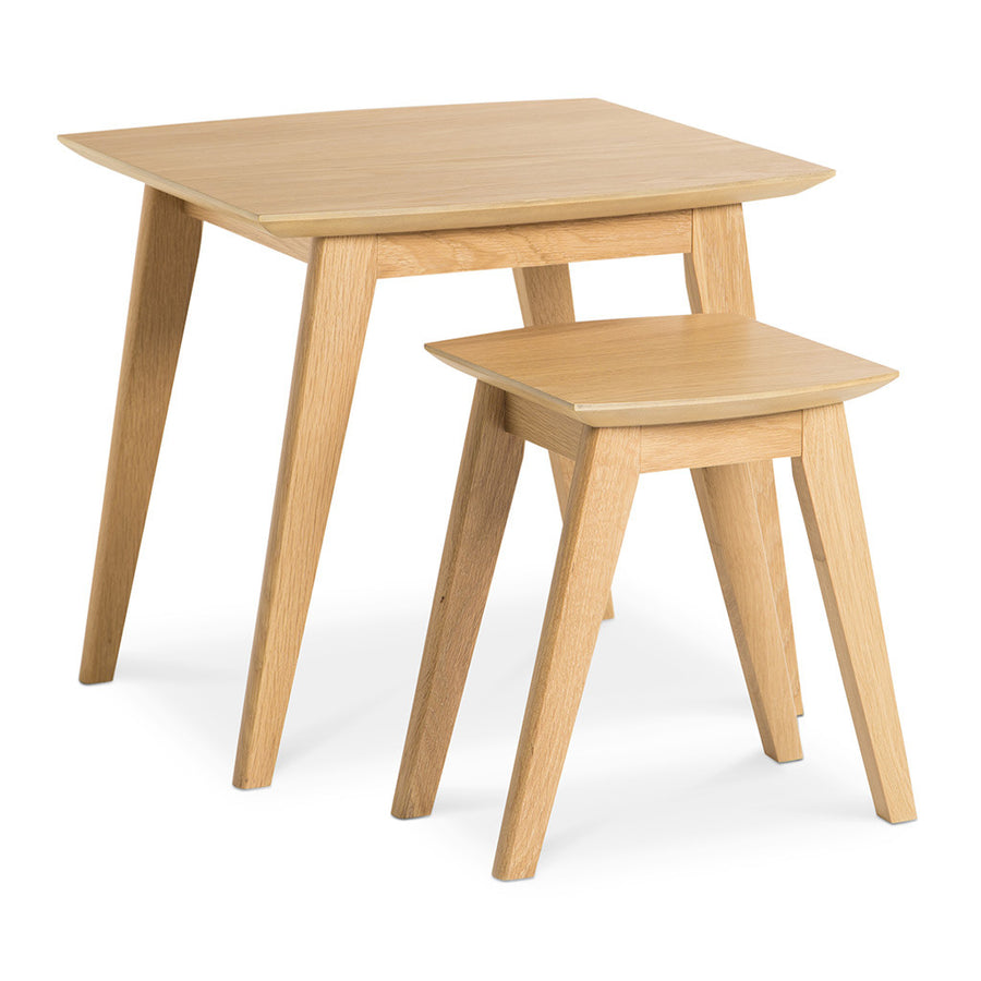 Erika Scandinavian Wooden Oak Nesting Side Tables BROSA TBLELZ24OAK Elizabeth Nesting Tables, RETROJAN Harper Nest of Tables - Oak, MATT BLATT  Fleetwood Nest of 2 Tables