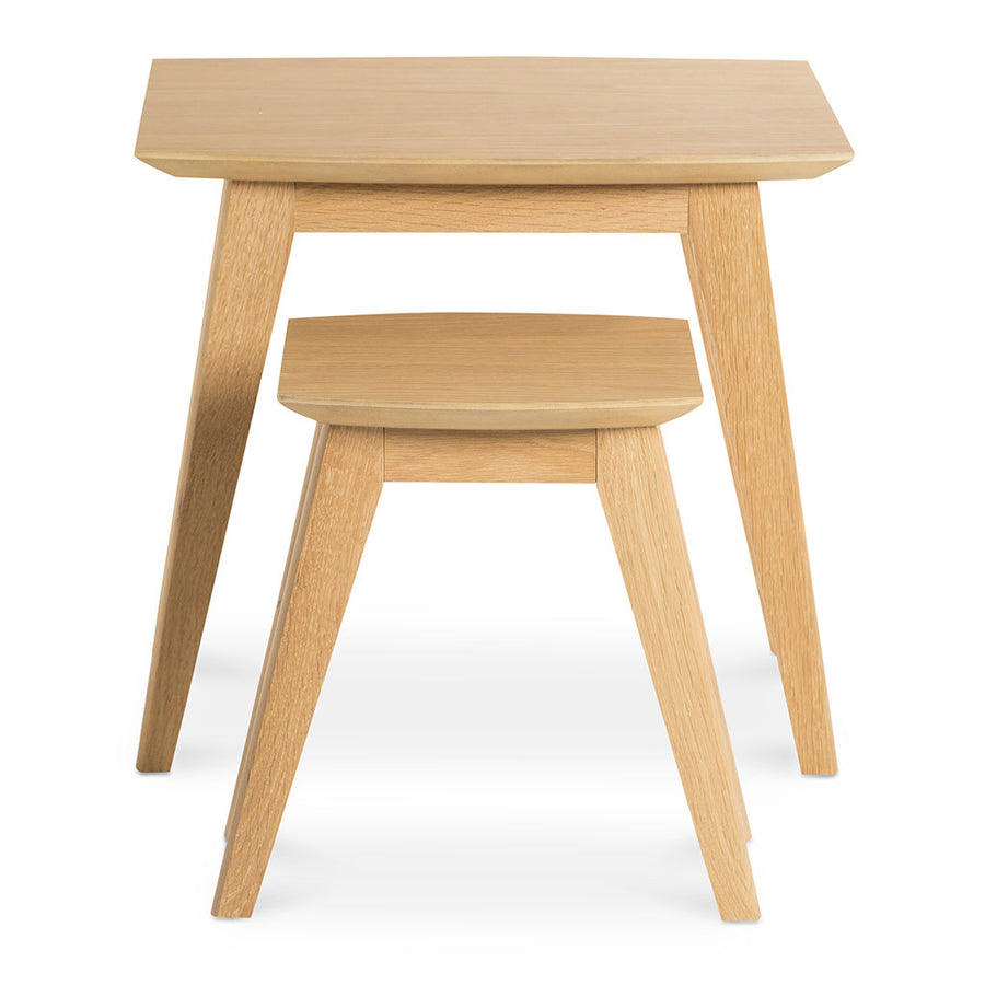 Erika Scandinavian Wooden Oak Nesting Side Tables BROSA TBLELZ24OAK Elizabeth Nesting Tables, MATT BLATT  Fleetwood Nest of 2 Tables