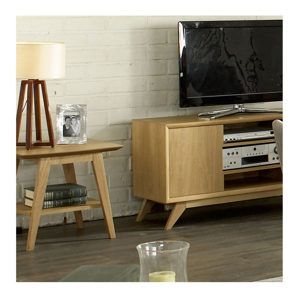 Erika Scandinavian Wooden Oak Side Table with Shelf BROSA TBLELZ23OAK Elizabeth Lamp Table