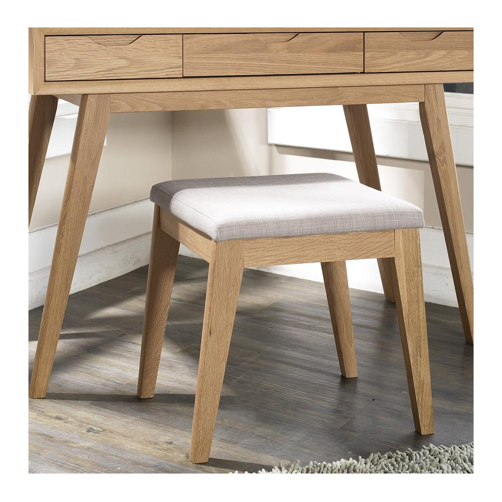 Erika Scandinavian Wooden Oak and Fabric Stool lifestyle