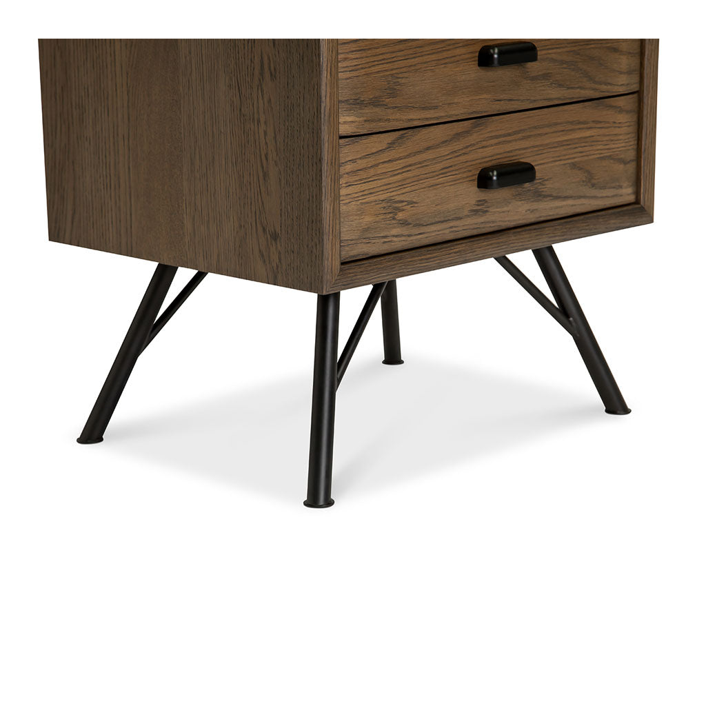 Finn Modern Industrial Scandinavian 2 Drawer Bedside Table BROSA TBLFIE04GRY Field Lamp Table