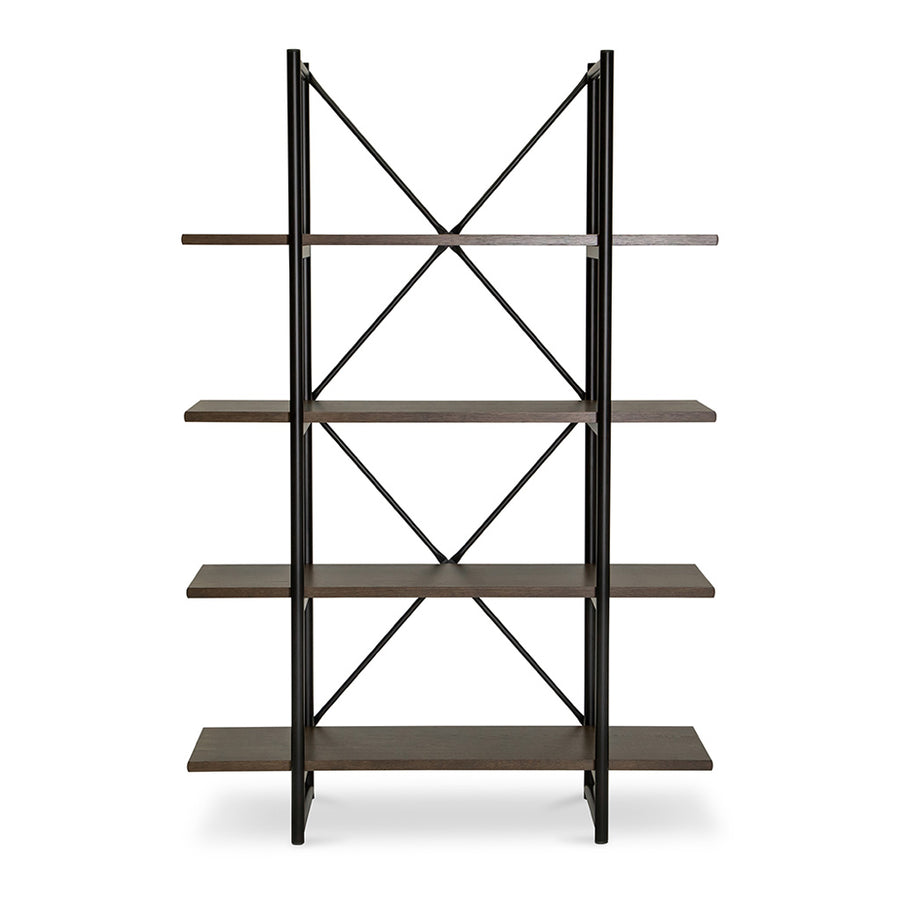 Finn Modern Industrial Scandinavian Bookshelf / Display Shelf BROSA SHLFIE09GRY Field Double Open Shelf, RETROJAN Lucy Designer Double Open Shelf